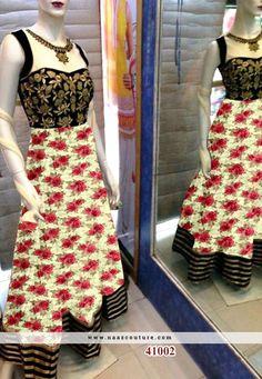 Shining Embroidery Work Printed Anarkali Salwar Suit