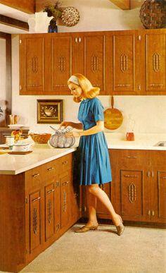 Vintage Kitchen: Wood Cabinets and Carpet