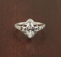 Stunning Art Deco Marquise Diamond Ring. Rare French cut side diamonds. Platinum.