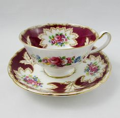 Royal Grafton Red Tea Cup and Saucer with Flowers
