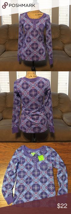 "Vera Bradley Henley Pajama Top Brand new with tags Vera Bradley Henley pj top in Lilac Tapestry design. Size medium (8-10). 57% cotton, 38% rayon, 5% spandex. Measures 17"" armpit to armpit and about 26"" long from shoulder to bottom hem Vera Bradley Intimates & Sleepwear Pajamas"