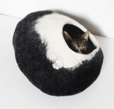 Black Darkness XLarge Cat Bed Cat Cave Cat House Felted - Free Cat Ball by LoveCatCaves on Etsy https://www.etsy.com/listing/151781182/black-darkness-xlarge-cat-bed-cat-cave