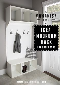 This is my first attempt at an IKEA Hack, so let me know if you have any questions! IKEA Shopping List: 2 x STOLMEN Open Storage $60/each 2 x LILLHOLMEN Hooks$9.99/2 pack 2 x EKBY HENSVIK White B…