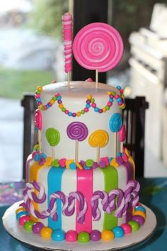 Baby shower themes for gils candy land birthday party ideas 39 super Ideas Lollipop Birthday, Birthday Cake Girls, Birthday Parties, Birthday Cakes, Lollipop Cake, 3rd Birthday, Torta Candy, Candy Cakes, Candy Theme Cake