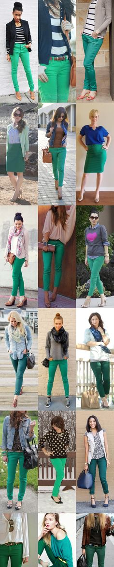 Lots of ideas on how to wear green in vibrant form or as a darker shade. Feeling inspired to wear green jeans now. Green Pants Outfit, Green Jeans, Green Skinnies, Dress Pants, Green Dress, Jean Outfits, Casual Outfits, Cute Outfits, Fashion Outfits