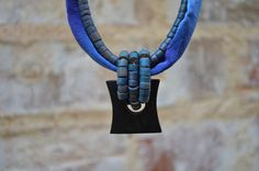 Repurposed Vintage Blue Beaded and Purple Silk Necklace