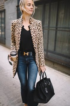 How to Style a Leopard Coat, Hermes Belt, Spring Style, Cropped Denim