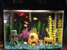 My son's Sponge Bob inspired fish tank Kids Aquarium, Fish Aquarium Decorations, Aquarium Fish Tank, Spongebob Fish Tank, Fish Tank Themes, Fish Tank Design, Cool Fish Tanks, Pet Hotel, Pet Turtle