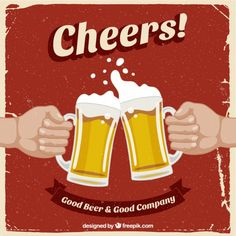 Cartel retro con cervezas. Gratis para uso comercial con atribución. Good beer... Good company...