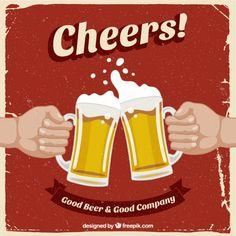 Retro poster com cervejas Vetor grátis