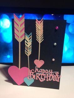 Arrows/ hearts happy birthday card  $5.00