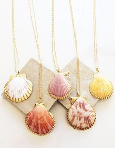 "gold Sea Shell Wish Necklace gold necklaces with natural seashell charms. Colors vary, but are in the ""yellow"" family or ""coral"" family Seashell Jewelry, Seashell Necklace, Seashell Crafts, Shell Necklaces, Beach Jewelry, Diy Necklace, Clay Jewelry, Jewelry Crafts, Gold Necklaces"
