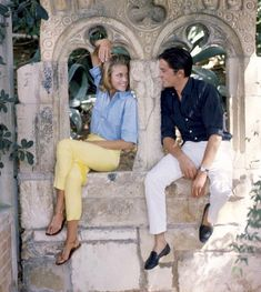 """Jane Fonda and Alain Delon on location at the villa Torre Clementine in Villefranche for the filming of René Clément's """"Les Félins"""", photo by Francois Pages, 1963"""