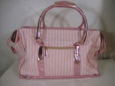 Victorias Secret Pink White Stripe Metallic Weekender Duffel Travel Luggage Bag | eBay