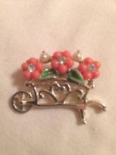 Vintage Flower Cart w/rhinestones/faux pearls Brooch/Pin