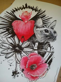 #tasteofink #decristofarovincenzo #ink #pencil #drawing #heart #poppy #cat #flower #tattoo #availablefortattoo #blotchtattoo #trashpolka #inkedmag #tattoocircle #chiudunotattooweekend #luccatattooexpo #laspeziatattooconvention #genovatattooconvention
