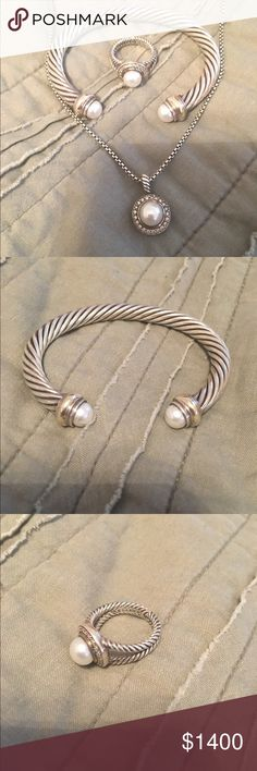 David Yurman SET Cable Pearl and Diamonds Excellent condition. Authentic. Pearls are freshwater and diamonds are real. This is for the bracelet, ring and necklace. All are David Yurman. All can also be purchased individually. For info on each item please see the listing.Price is the same even if bundled. David Yurman Jewelry