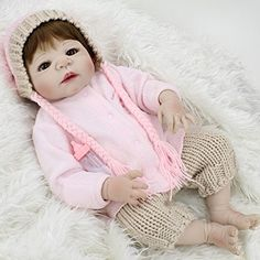 "Full Body Silicone Toddler Girl Doll Anatomically Correct Reborn Baby Look Real for Nursery Training,23-Inch. Size: About 23inch/58cm She wear real baby clothes""0-3month"" Weight: around 1.5kg Gender: Girl-have girl genital part. Package with pink window gift box: 1 x girl doll, 1 x pink hoodie coat,1 x crochet pants,and 1 magnet Pacifier as gifts. This girl doll full body is made of silicone, not very soft, it have a bit soft and flexibility when touch her; it is not the kind of squishy..."