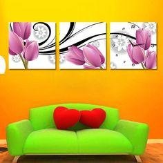 Tienda Online Envío gratis 3 panels moderna pintura al óleo decorativa del fondo del sofá de la imagen sin marco, tulipán en lona impresa | Aliexpress móvil Boards, Drawings, Home Decor, Art, Paintings Of Flowers, Store, Ornaments, Planks, Art Background
