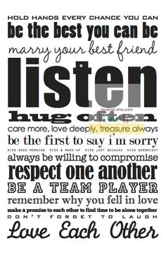 Marriage Advice . Love Rules Subway Art Poster Print . Romantic Wedding Anniversary Gift . 11x14 // Black on White // Scroll Sign.via Etsy.