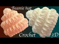 Gorro a Crochet en punto 3D hojas de merengue tejido tallermanualperu - YouTube