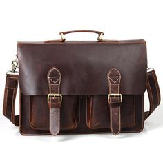 "Image of Vintage Handmade Crazy Horse Leather Briefcase / Messenger / 14"" 15"" Laptop 13"" 15"" MacBook Bag"