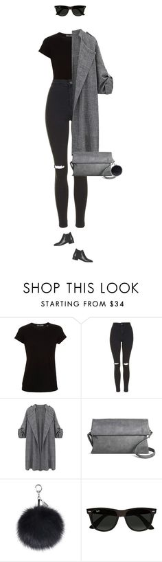 """Everyday chic look !"" by azzra ❤ liked on Polyvore featuring Vince, Topshop, Street Level, Ray-Ban, women's clothing, women, female, woman, misses and juniors"