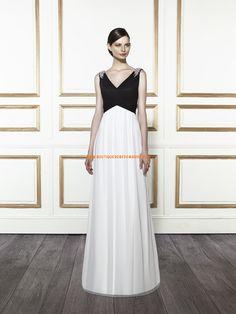 Robe de mariée simple col V perles mousseline 2015
