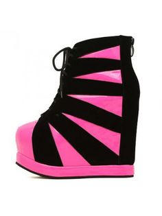 New Arrival Wedge Pattern Color Block Ankle Boots Rose and Black