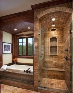 Master Bathroom Walk In Shower Ideas is part of Rustic bathroom designs Among the ideas is to get wood vanities with its normal wood finish without the laminates If you're looking for master bath - Dream Bathrooms, Beautiful Bathrooms, Small Bathrooms, Log Cabin Bathrooms, Modern Bathrooms, Country Bathrooms, Rustic Bathroom Designs, Rustic Master Bathroom, Tuscan Bathroom