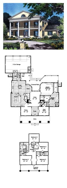 Plantation House Plan 63166 | Total Living Area: 4106 sq. ft., 5 bedrooms, 2 full bathrooms, 1 half bath and one quarter bath. #houseplan #plantation