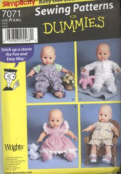"""Vintage - Simplicity Doll Clothing Size 12-22"""" Clothing Pattern - Sewing Patterns"""