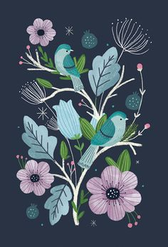Birds and butterflies folk art on behance illustration flowe Art And Illustration, Floral Illustrations, Butterfly Illustration, Flower Illustration Pattern, Folk Art Flowers, Flower Art, Drawing Flowers, Painting Flowers, Painting Tips