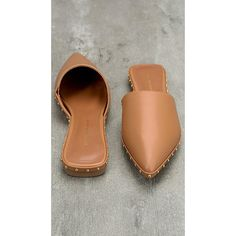 Watts Camel Studded Loafer Slides ($40) ❤ liked on Polyvore featuring shoes, loafers, studded flat shoes, synthetic shoes, studded loafers, flats loafers and loafer flats