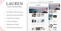 Lauren - Clean & Minimal Blog WordPress Theme Web Themes, Website Themes, Corporate Blog, Blog Layout, Best Templates, Wordpress Template, Best Wordpress Themes, Website Template, Minimalism