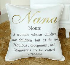 Nana Embroidered Pillow Cover Grand Parents by RashmiCreations