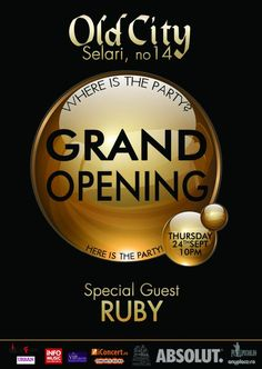Old City Club - Grand Openning | PeLipscani.RO | Ghid dedicat Centrului Vechi | Petreceri in Bucuresti | Sambata seara | Centrul Istoric Grand Opening, Special Guest, Music, Party, Movie Posters, Opening Day, Musica, Musik, Film Poster