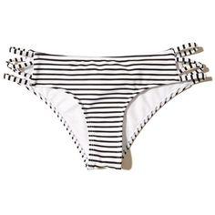 Hollister Strappy Original Cheeky Bikini Bottom (480 UYU) ❤ liked on Polyvore featuring swimwear, bikinis, bikini bottoms, bikini, hollister, swimsuit, white stripe, striped bikini bottoms, white bikini bottoms and strappy bikini bottom