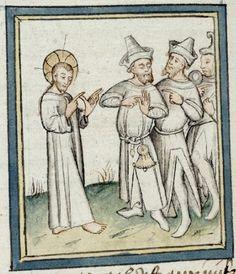 14th century hats for men, manuscript: BIF Ms. 09 Pèlerinage de Jésus-Christ, Folio 052v, 1400, France