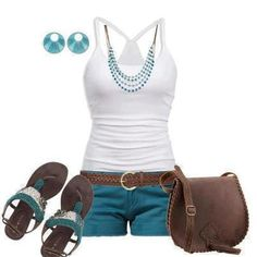 casual summer style ~ white tank teal shorts