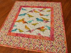 Colorful Bird Table Topper Quilted Square Table Topper Blue