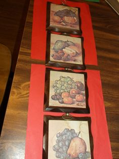 "Set of 4 Wood Homco Wall Plaques Pictures Fruit 5"" x 5"" Home Interiors"