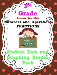 3rd Grade Common Core Math Fractions Student Data Tracking Binders with pre/post test graphs.