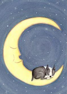 Boston terrier sleeping on the moon / Lynch signed folk art print on Etsy, $12.99