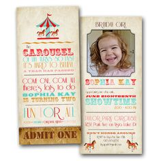 Carousel Ticket Birthday Invitation