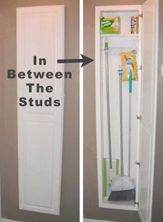 3.use the wall space in between the studs in your walls | 25 Clever Hideaway Projects You Want To Have at Home