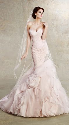 Palest pink wedding dress