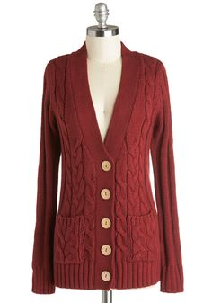Your Fireside of the Story Cardigan in Rust. Snuggled under the cable-knit front of this rust-red V-neck, you patiently listen to your best friend relay a tale of this weekends adventures. #red #modcloth