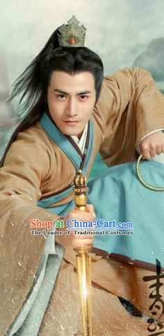 Ancient Chinese Swordsmen Clothing and Hair Jewelry Complete Set for Men