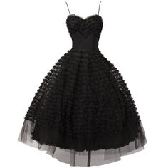 Vintage 1950's Black Tiered Tulle Lace Cocktail Dress (29.205 RUB) ❤ liked on Polyvore featuring dresses, vestidos, gowns, black, lace dress, tiered cocktail dress, spaghetti strap dress, vintage dresses and vintage lace dress